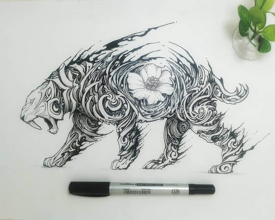02-Saber-Toothed-Tiger-Animal-Drawings-Syahid Zain-www-designstack-co