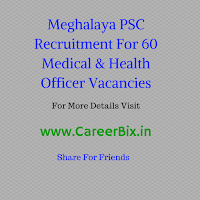 Meghalaya PSC Recruitment For 60 Medical & Health Officer Vacancies