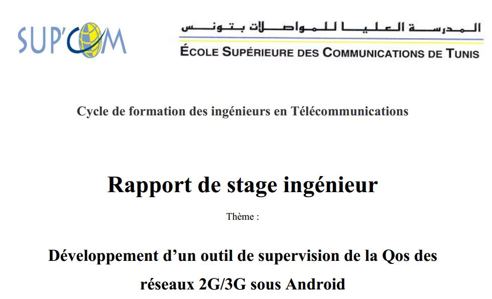 rapport de stage pfe sup u0026 39 com tunisie  d u00e9veloppement d u2019un outil de supervision de la qos des