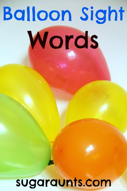 Sight word activity ideas using balloons