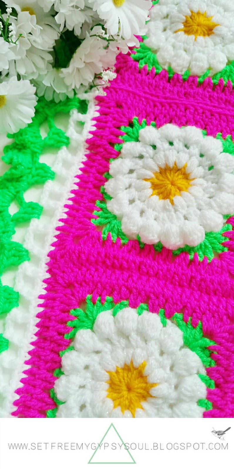 daisy dukes flower crochet granny square blanket free pattern