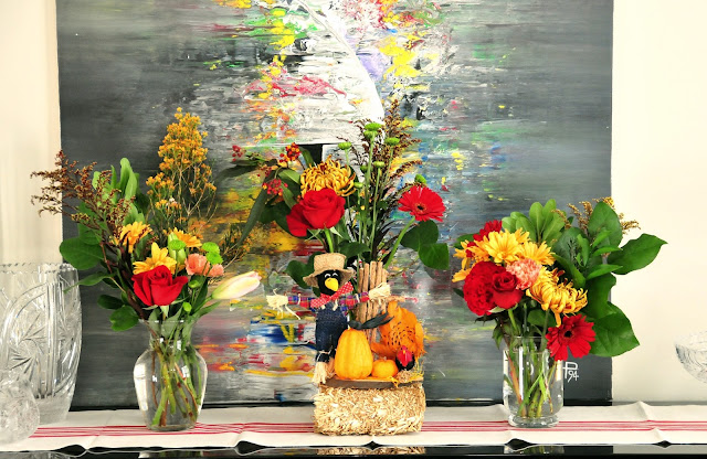 thanksgiving table setting decor ideas flowers fall red yellow