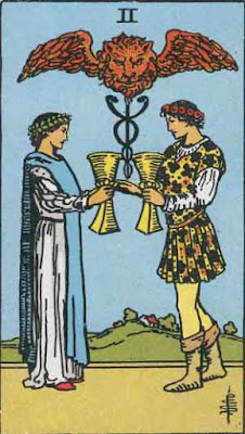 Two of Cups Rider-Waite Tarot deck 1909