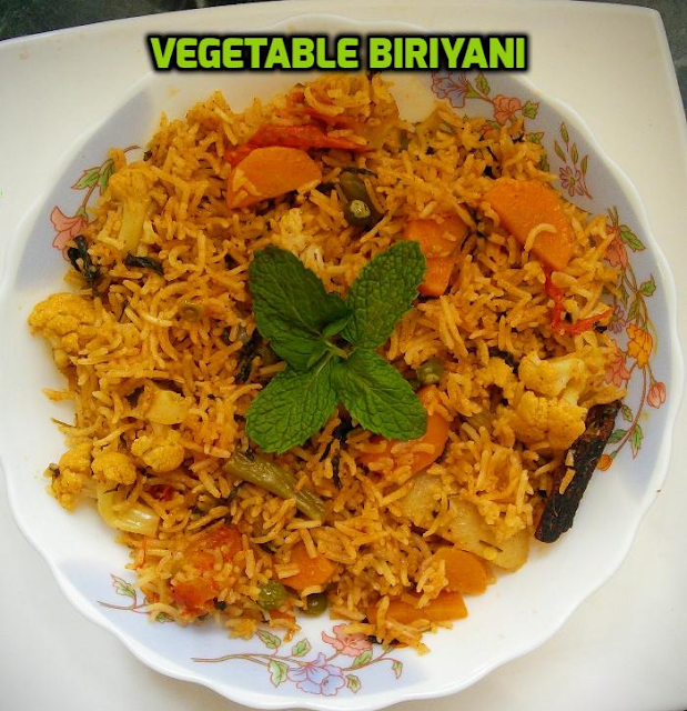 Easy Vegetable Biriyani with step by step instructions and pictures.  This Easy Vegetable Biriyani is an easy weekend lunch that's full of nice flavour. Try this recipe and the whole family can enjoy.  When you make biriyani you should expect two things they are  the rice should be firm not mushy and it should be full of bold flavours. If you follow some basic methods it should be easy to cook a tasty biriyani. Whenever I make biryani, I always prepare a fresh ginger garlic paste.(Do not peel the garlic skin because it adds nice flavour and taste). The ginger garlic paste is the first main ingredient which enhances the taste of the rice. I have used all the dry spices and the biriyani masala powder. I have used the basic combination of vegetabIes that everyone like and you can add any other vegetabIes that you want. I also prefer to add ghee and oil in minimal amounts. Letting the rice rest for 1 to 2 hours before serving helps to release the flavours from the spices and the rice also stay distinct. If you do not have biryani masala powder, you can replace it with 1/2 tsp red chilly powder and 1 tsp garamasala powder. This Easy Vegetable Biriyani is really simple to make and it has a nice flavour. Let's see how to prepare this Easy Vegetable Biryani with step by step photos.