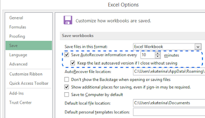 Excel Enable Auto Recover dan Auto Save