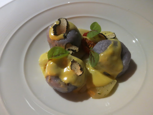 Truffle Parmigiano Filled Gnocchi with White Asparagus and Carbonara