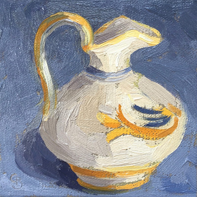 #52 'Yellow & Blue Jug' 4×4″