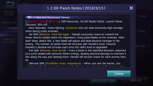Mobile Legends Patch Notes 1.2.60