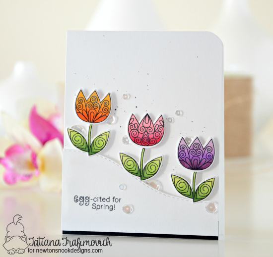 Spring Card with Tulips by Tatiana Trafimovich | Beautiful Spring Stamp Set by Newton's Nook Designs