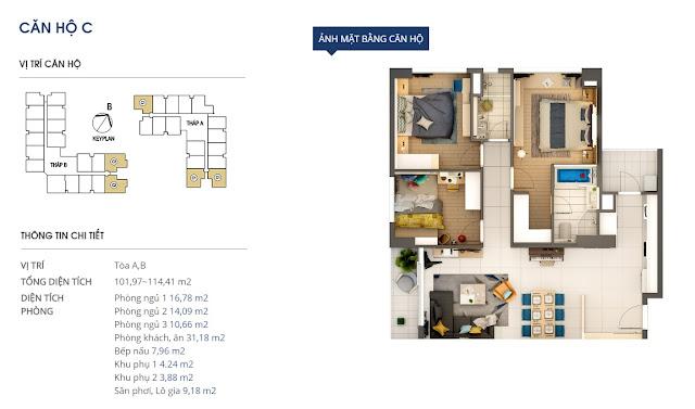 Mặt bằng chi tiết căn hộ 114 m2 - Rivera Park Hà Nội