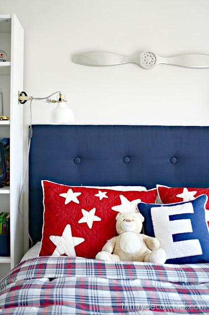 Custom navy tufted headboard for boys room