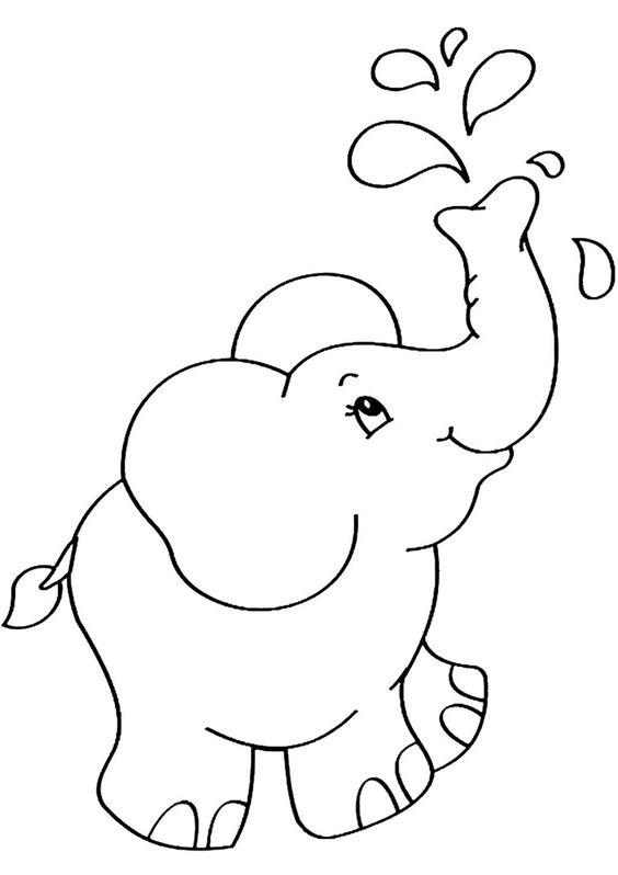Tranh tô màu con voi cho bé 5 tuổi
