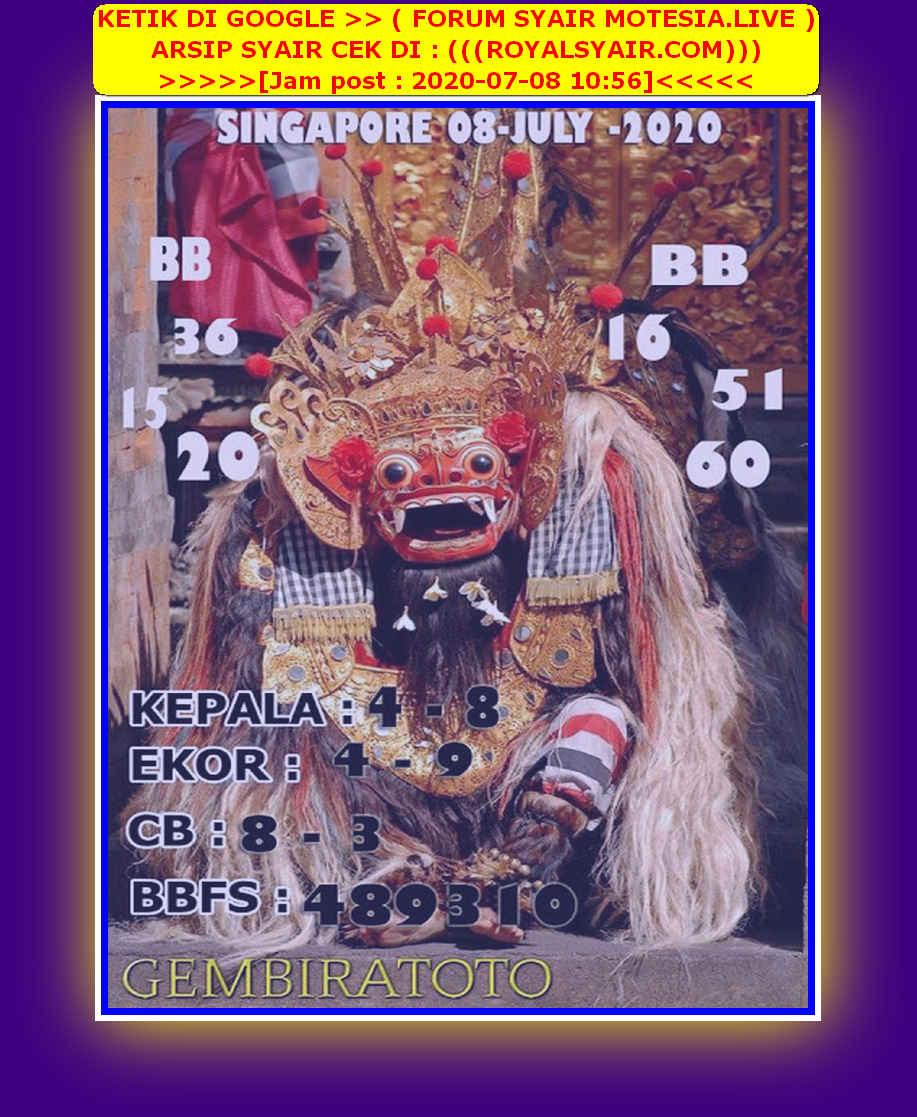 Kode syair Singapore Rabu 8 Juli 2020 144