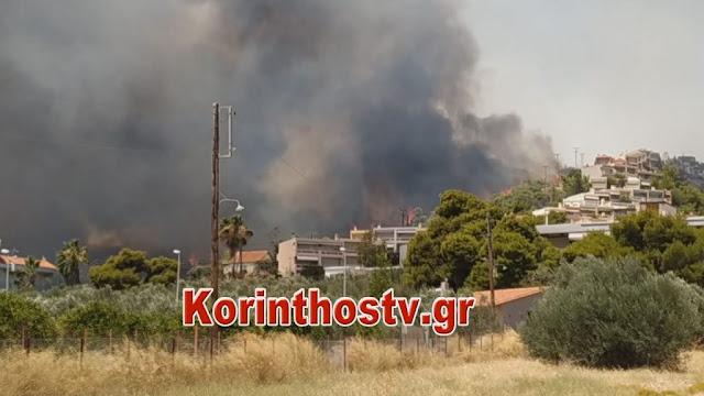 Φωτιά στις Κεχριές Κορινθίας: Εκκενώνονται ο οικισμός Δράσσα και το ράντζο στο Σοφικό
