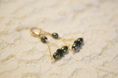 green emerald oval pearl and faceted black onyx crystal triangle dangle earrings with gold chain and gold leverback handmade gold earrings