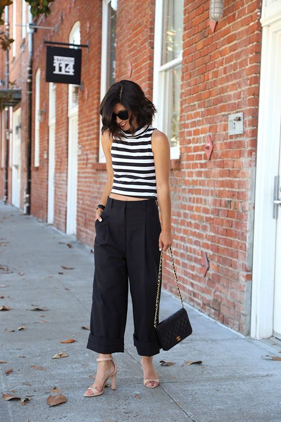 Outfit from Pinterest - Black & White stripes crop top and Black culottes