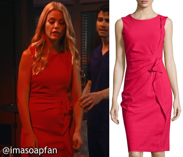 Claudette Beaulieu's Ruffled Red Sheath Dress - General Hospital, Season 54, Episode 08/30/16