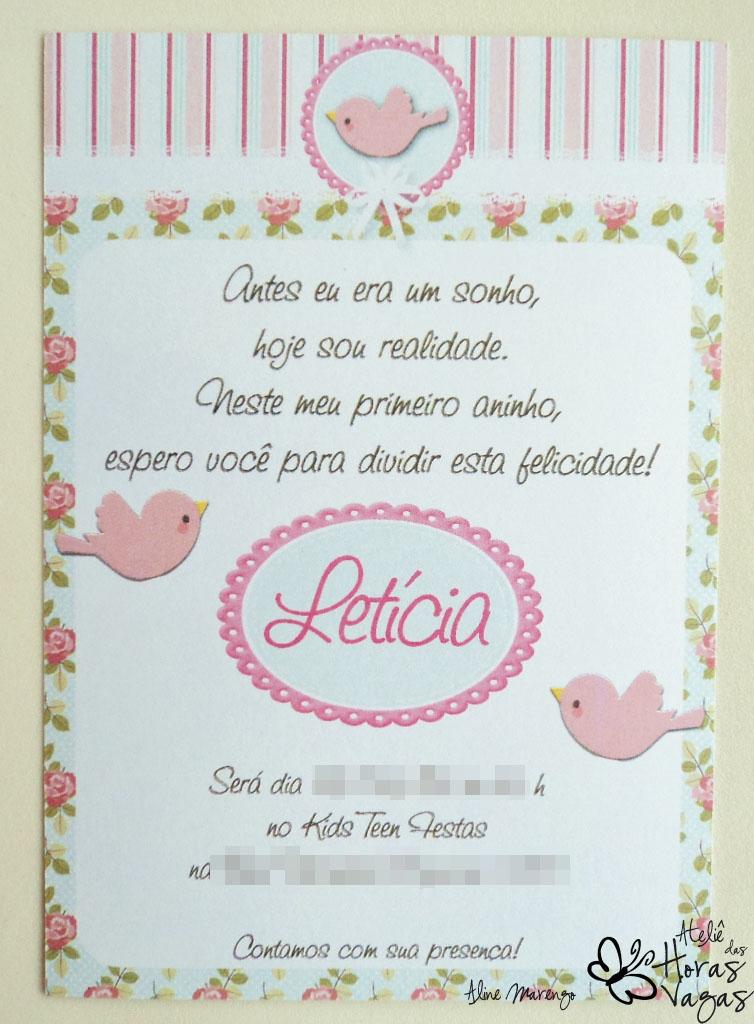 convite provençal floral passarinhos delicado aniversário menina 1 aninho flores envelope papel vegetal