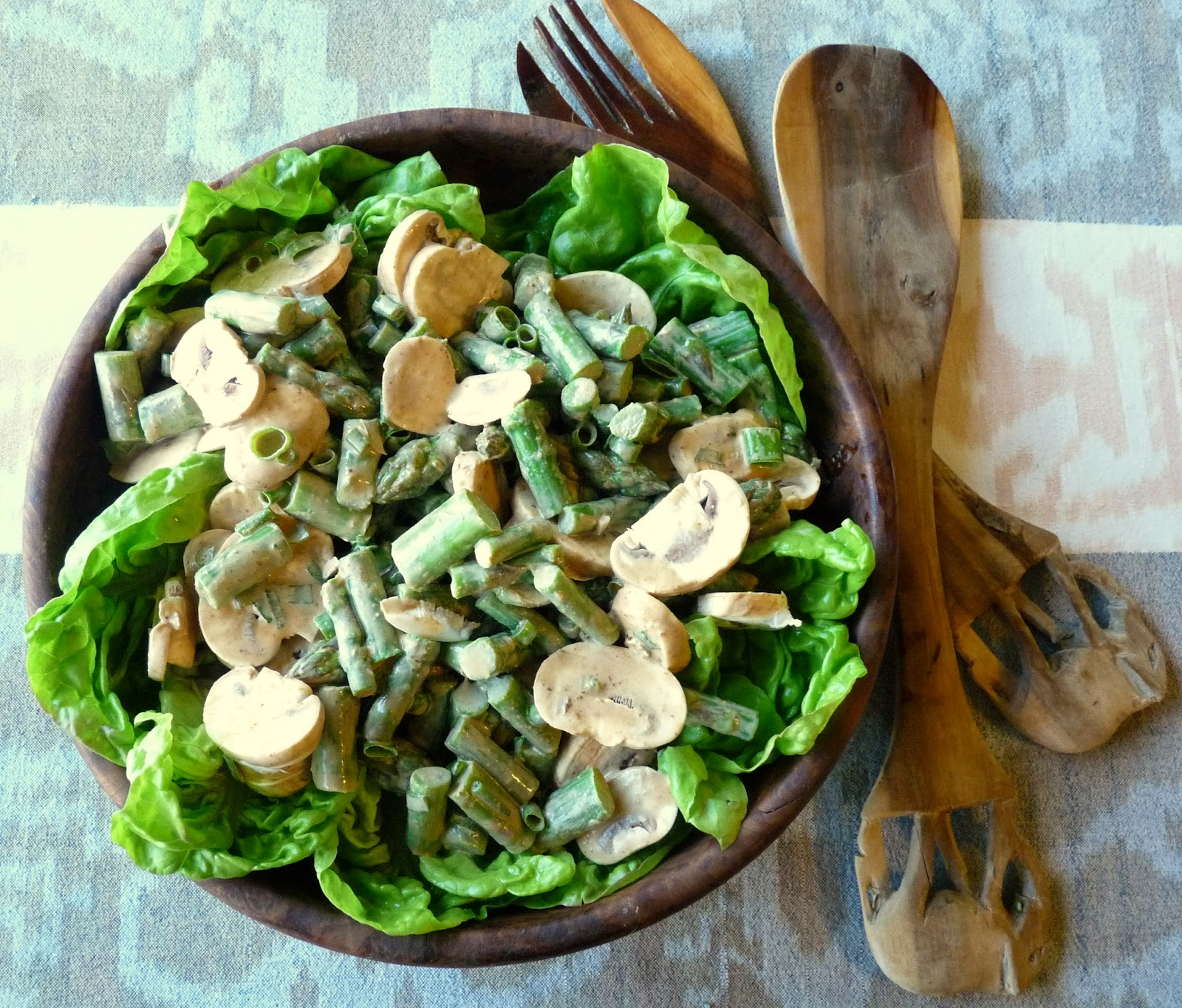Asparagus Mushroom Salad with Mustard-Miso Mayonnaise Dressing