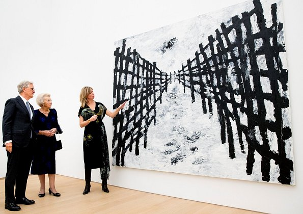 Princess Beatrix of The Netherlands attended the opening of Armando exhibition at Voorlinden Art Museum in Wassenaar