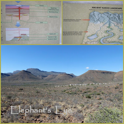 Karoo rocks and mountains and our accomodation in the National Park
