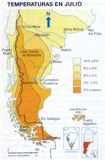 températures en Patagonie en hiver