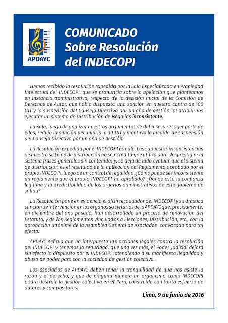 ASOCIACIÓN PERUANA DE AUTORES Y COMPOSITORES: junio 2016