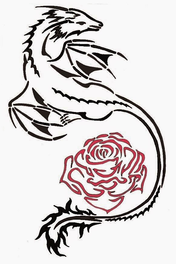 Dragon and rose tattoo stencil