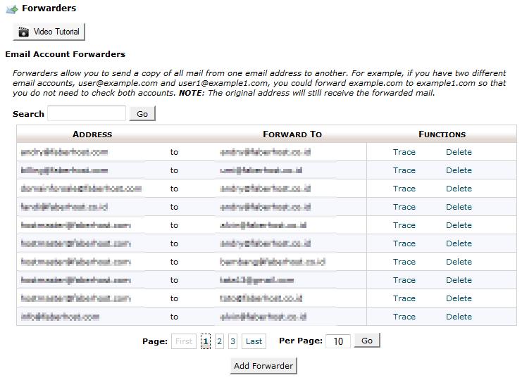 halaman email forwarders - faberhost.com