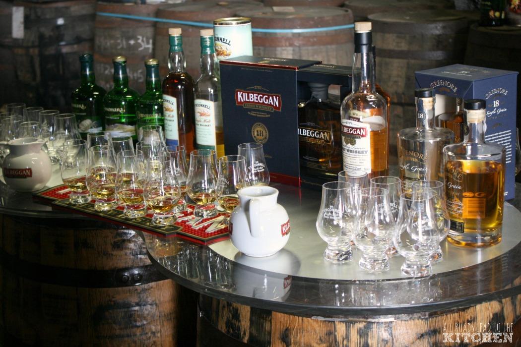 An assortment of whiskey from Kilbeggan ready for tasting.