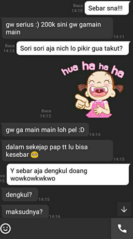Screenshot percakapan minta foto hot cowok pada kekasihnya