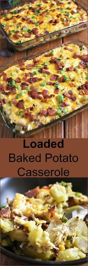 Loaded Baked Potato Casserole wíth Chícken for a Crowd