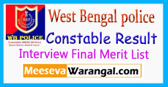 WBP West Bengal police Constable Result Interview Merit List 2017