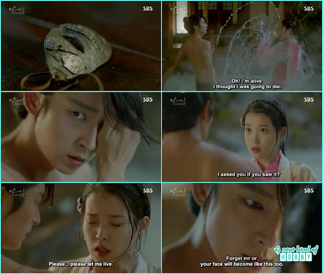 hae so in th eprince bath tub where 4th prince wang so taking bath she saw his face with out the mask - Moon Lovers: Scarlet Heart Ryeo - Episode 2 Review