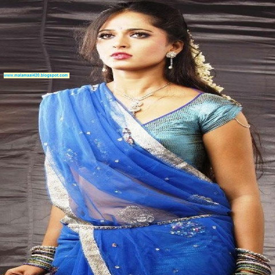 Mallu Aunty Anuksha Shetty Hot In Blue Saree  Open Blouse -7154