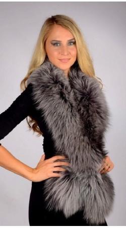 Fox Fur Scarf - Blue