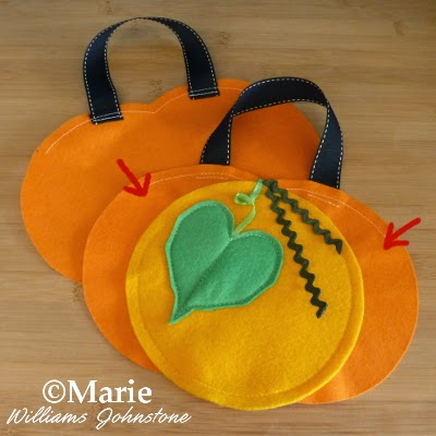 Front and back pieces of Halloween Fall bag