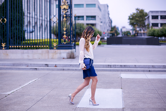 free people far alway lace top, lace top, vince camuto denim skirt, celine classic box bag, bauble bar earrings, chloe sunglasses, christian louboutin glitter pumps, romantic outfit, date night outfit ideas, san francisco street style