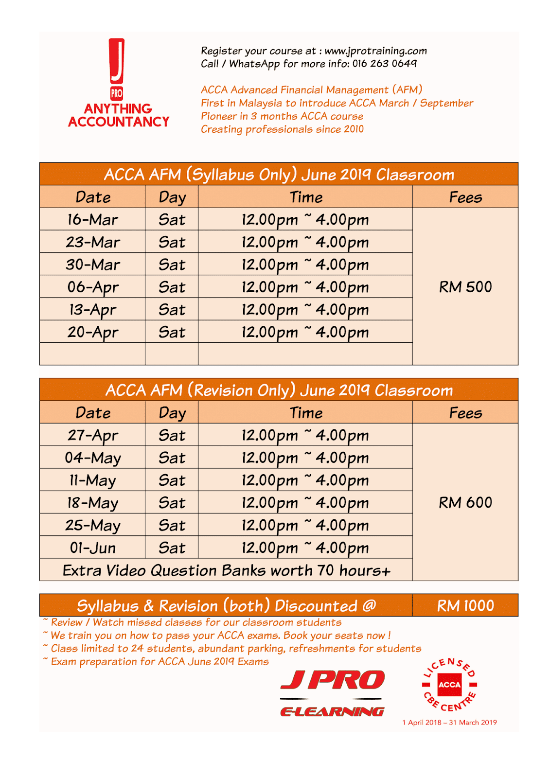 J Pro Business Training: ACCA JUNE 2019 EXAM PREPARATION
