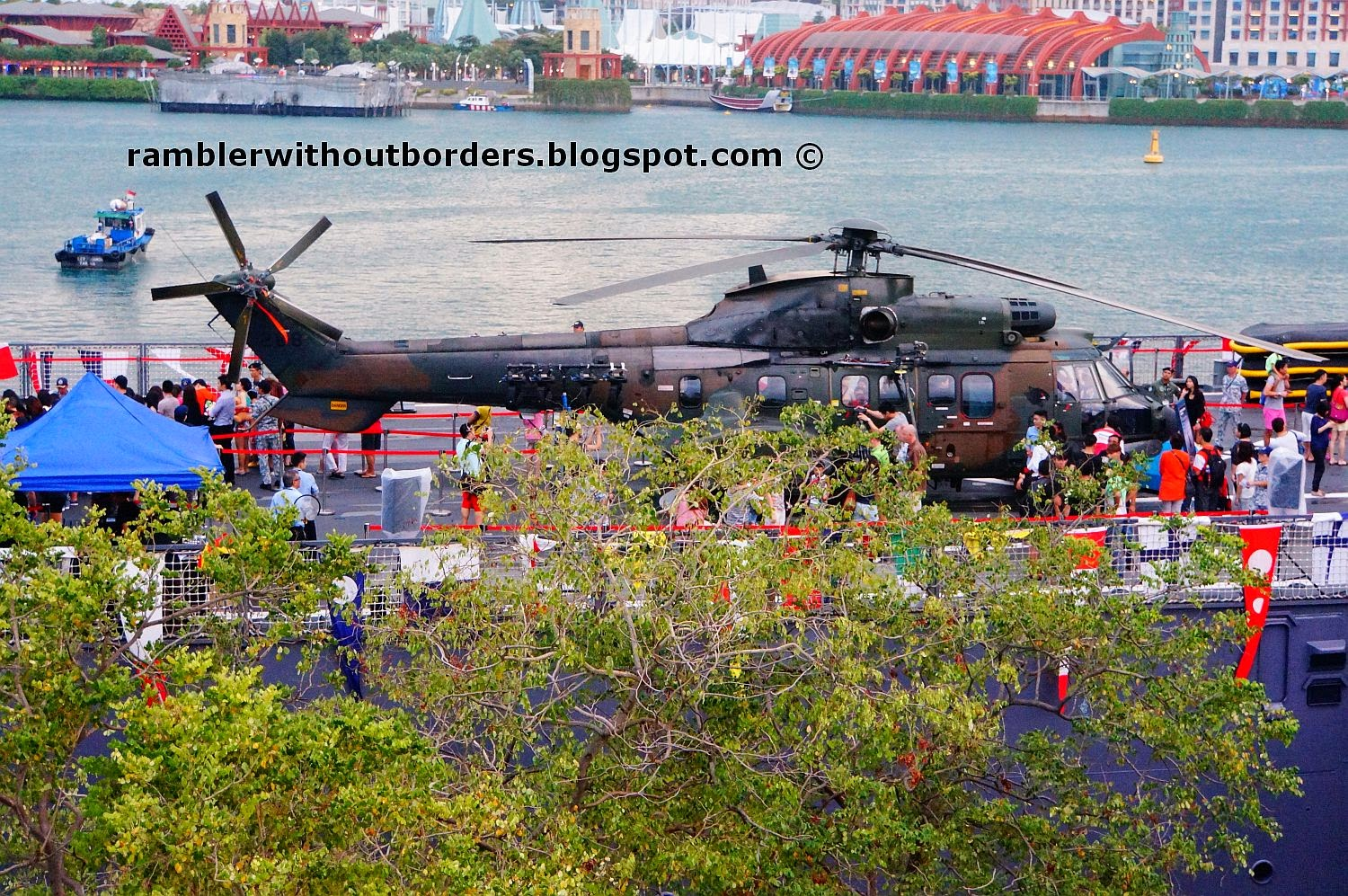 Helicopter park atop Landing Ship Tank RSS Endurance moored at Vivocity, Singapore