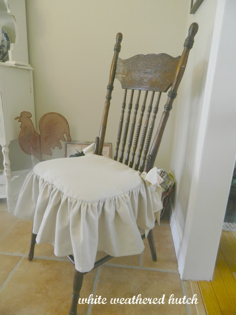 White Weathered Hutch: Country Chic Ruffled Drop Cloth ...