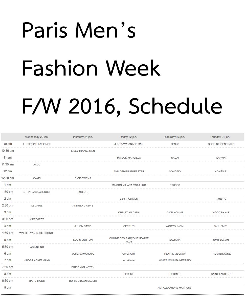 Paris Fashion Week Schedule June
