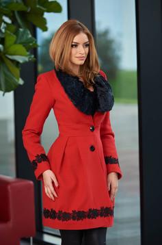 palton dama rosu de iarna