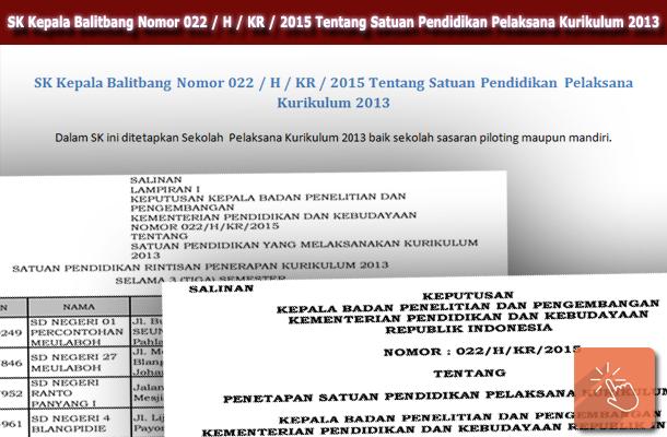 SK Kepala Balitbang Nomor 022 / H / KR / 2015 Tentang Satuan Pendidikan Pelaksana Kurikulum 2013