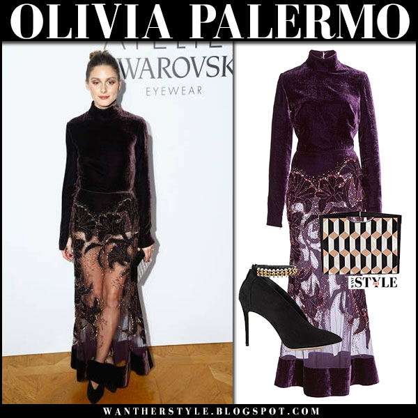 Olivia Palermo in burgundy plum velvet tulle dress elie saab paris fashion week january 23