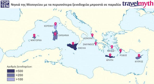 Τα 5 από τα 10 νησιά της Μεσογείου με τα περισσότερα παραλιακά ξενοδοχεία είναι Ελληνικά