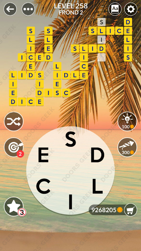 Wordscapes Level 258 answers, cheats, solution for android and ios devices.