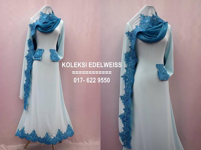 Baju kahwin Baju Tunang NIkah Simple Warna Biru Lembut