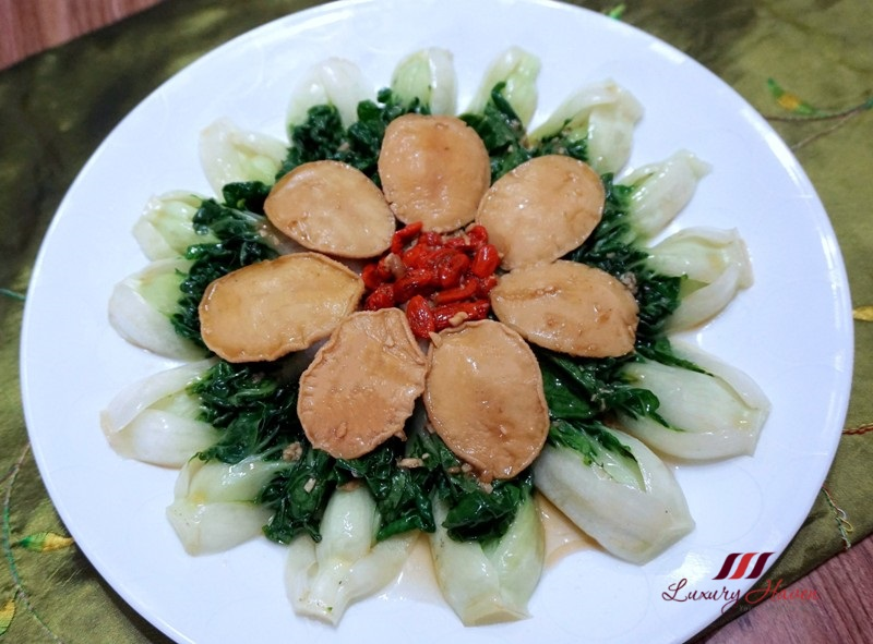 colourful food presentation baby abalone bok choy
