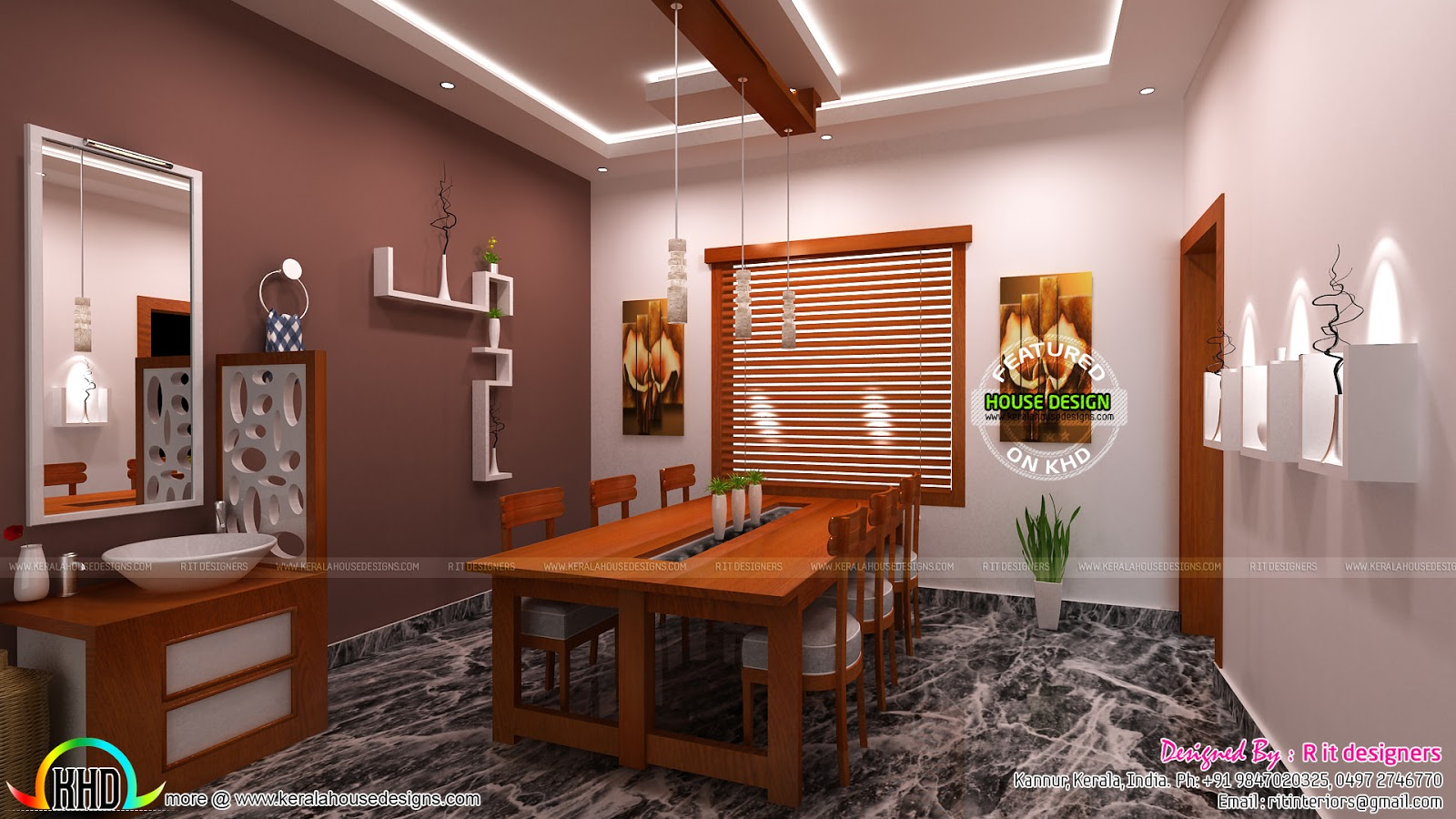 Modular kitchen living and dining interiors kerala home for Dining room designs kerala